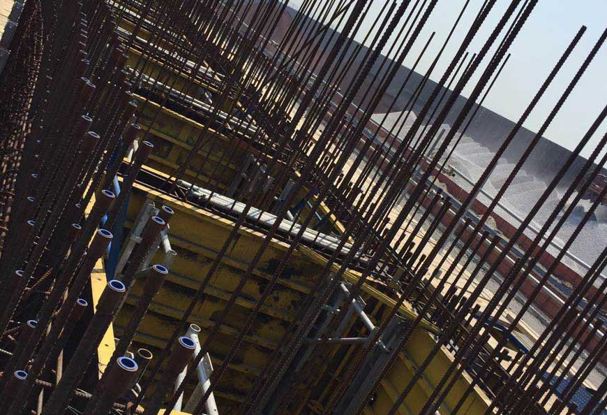 Patented shaft core wall corner formwork makes formwork stripping much easier and faster by crane lift.