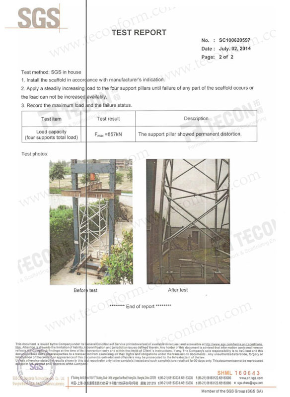 Shoring Tower SGS Test Report 2